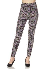 plus aztec tribal print yummy brushed ankle leggings