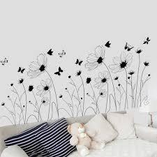 schwarze blumen schmetterling wandaufkleber wohnzimmer schlafzimmer kopfteil hintergrund wandbild poster dekorative tapete kunst