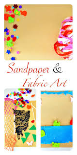 Kids art with sandpaper and fabric