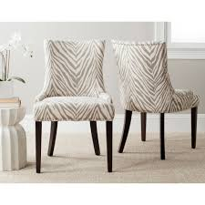 Grey Upholstered Dining Chairs With Nailheads by Safavieh Lester Grey Zebra Dining Chairs Set Of 2 Overstock