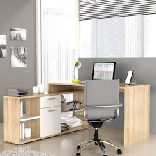 achat bureau bureau d angle fixe chêne et blanc 140x136 cm achat vente