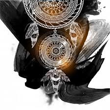 Boho Style Ornamental Dream Catcher With Ethnic Tribal Floral Pattern On Abstract Black Brush Strokes Background