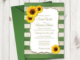 DIY Sunflower Wedding Invitation Printable Template With Green Stripes Vintage Invitations Rustic