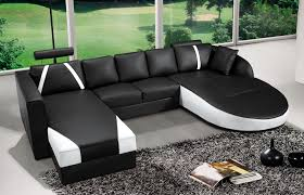 canapé noir et blanc deco in canape d angle en cuir noir et blanc