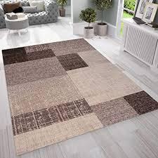 vimoda wohnzimmer teppich kurzflor in beige braun designer teppiche modern kachel optik kariert pflegeleicht maße 80x150 cm