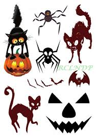 Waterproof Temporary Tattoo Sticker Halloween Spider Cat Bat Pumpkin Mask Tatto Stickers Flash Tatoo Fake Tattoos