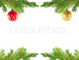 Christmas Tree Holiday Ornaments On An Evergreen Branch Frame