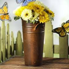 Rusty Tin French Flower Bucket
