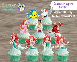 The Little Mermaid Cupcake Toppers Princess Ariel