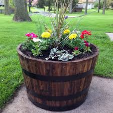 Beside A Bench On The Front Porch Add Rustic Appeal To Your Garden With These WOOD Apple Wine Whiskey Barrel Patio Planter Plant Flower Pots