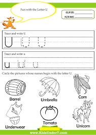 Letter U Worksheets For Kindergarten beginning short vowel sound