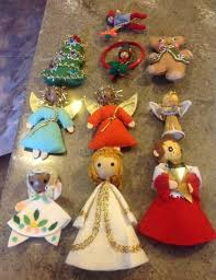 Vintage Felt And Sequin Handmade Christmas Ornaments Tree Concept Of Collectible