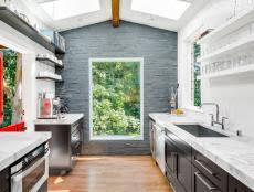 Outdoor Mid Century Modern Kitchens Classic Decoration Impressive Windows Massive Bricks Grey