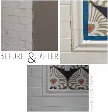 bathroom makeover tile accent border day 18 burger