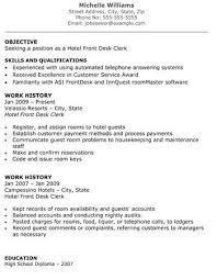 sle hotel clerk resume customer service receptionist resumes
