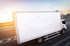 100 Motor Truck Cargo Commercial Cargo Delivery Truck With Blank White Trailer Driving On Highway