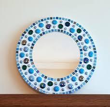 runde mosaik badezimmer wandspiegel blau türkis petrol 30cm