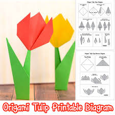 6 Origami Tulips With Stem