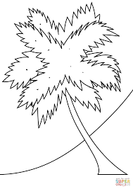 Click The Palm Tree On A Beach Coloring Pages