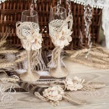 IVORY Rustic Chic Wedding Glasses Cake Server And Knife With Rope Lace Pearl
