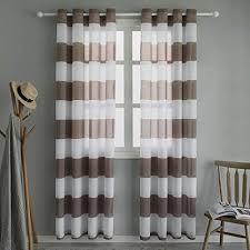 topfinel voile vorhänge mit ösen streifen transparent gardinen schlaufenschal für wohnzimmer schlafzimmer kinderzimmer 2er set je 220x140cm hxb