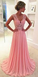 2017 pink chiffon prom dresses sheer lace applique top v neck long