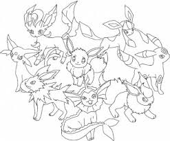 Pokemon Eevee Evolutions Coloring Pages 44 With