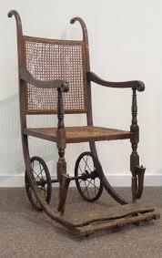 19th Century Oak Framed Invalid Wheel Chair, Cane Work Seat ...