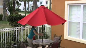 Solar Lighted Offset Patio Umbrella by Atleisure 9 U0027 Turn 2 Tilt Patio Umbrella W 52 Solar Led Lights