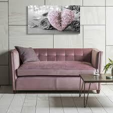 rosa herz und grau blumen leinwand druck wandbehang bild
