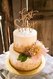 Wedding Cake Gold Sprinkles Best Day Ever Topper White Buttercream Rustic