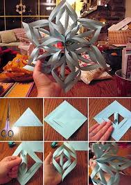 How To Make Pretty Paper Craft 3D Snowflakes Step By DIY Tutorial Instructions