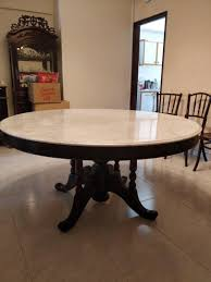 Peranakan Round Marble Dining Table & 6 Chairs On Carousell Liam Ding Set 1 Table 6 Chairs Extendable Teak By Hans Olsen For Price And Buy Seater Round Beige Marble With Wooden Cushioned Chairs With Six Round Table With Chairs Earl Kitchen For Aripeka Solid Mahogany Wood Ding Table Amazoncom Cover Cloth Home Modern Golden Top Luxury My Rectangle Birch White Mdf Nordic Design Setslate Tablehideaway