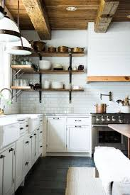 Full Size Of Kitchen Rustic Industrial Shelves White Subway Tile Wall Copper Pans And Pots