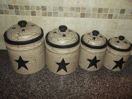 Primitive Crackle Painted Set Of 4 Canisters Black Stars Country Kitchen Decor