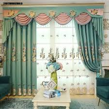Curtains For Living Dining Room European Embroidery Nordic Blackout Bedroom Balcony Windows Curtain Valance
