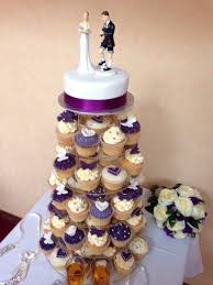 Ina Garten Foolproof Pumpkin Cupcakes by Wedding Cupcake Tower Ivory And Cadbury Purple Vintage Theme With