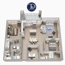 wohnung mit zwei schlafzimmern und möbeln furniture