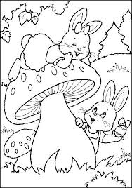 Easter Egg Hunting Bunnies Printable Coloring Page