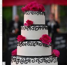 Pink Black White Wedding Cake