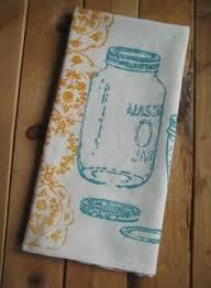 Block Printed Organic Cotton Mason Jar Towel By Ohlittlerabbit