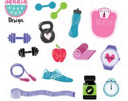 15 Fitness Clipart Workout Yoga Mat Kettlebell Personal And Comercial Use