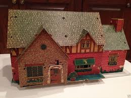 1940s BUILT RITE COUNTRY ESTATE DOLL HOUSE & FURNITURE HUGE