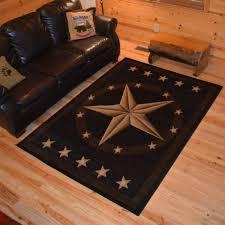 Rustic Lodge Western Texas Star Cabin Black Multi Area Rug 2x272