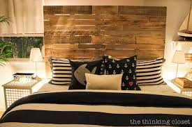 DIY Oversized Pallet Wood Headboard Via Thinkingcloset