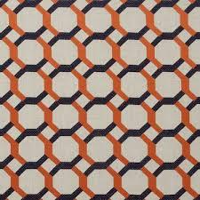 Navy Geometric Pattern Curtains by Geometric Orange Curtains Designs Mellanie Design