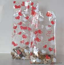 Cellophane Gift Bags Red And White Hearts