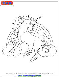 Unicorn Horse With Rainbow For Girls Coloring Page