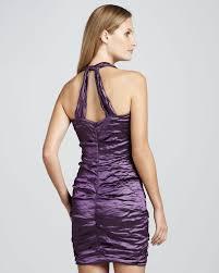 nicole miller halter ruched cocktail dress in purple lyst