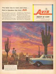 100 Avis Truck Rental One Way 1957 Magazine Print Advertisement AD Rent A Car Cowboy On Horse